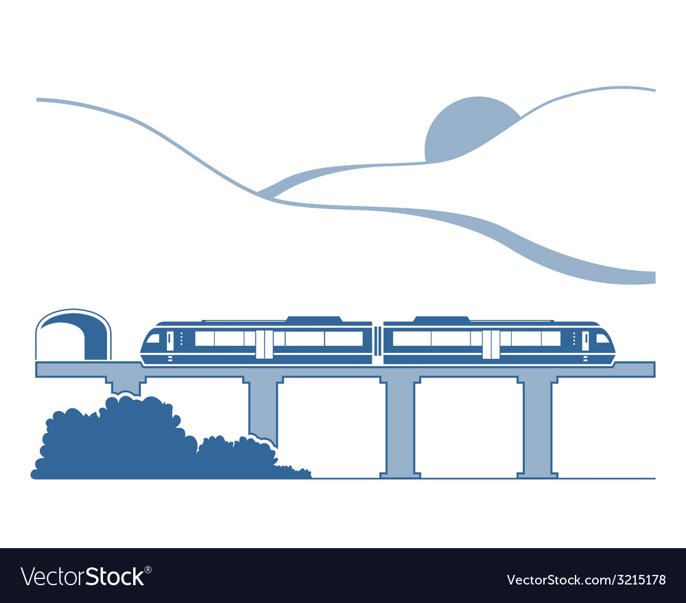 Silhouette of monorail in the mountains vector | Price: 1 Credit (USD $1)