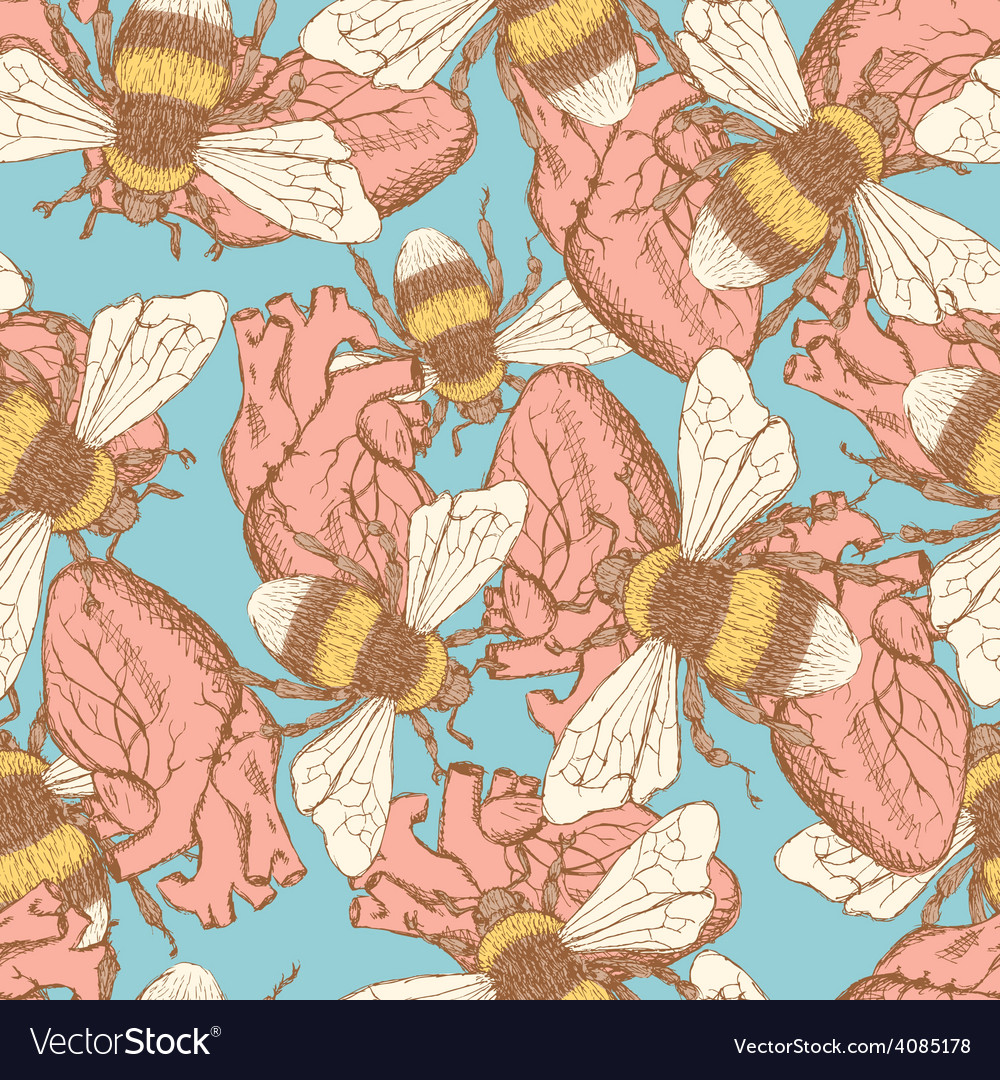 Sketch bee and heart in vintage style vector | Price: 1 Credit (USD $1)