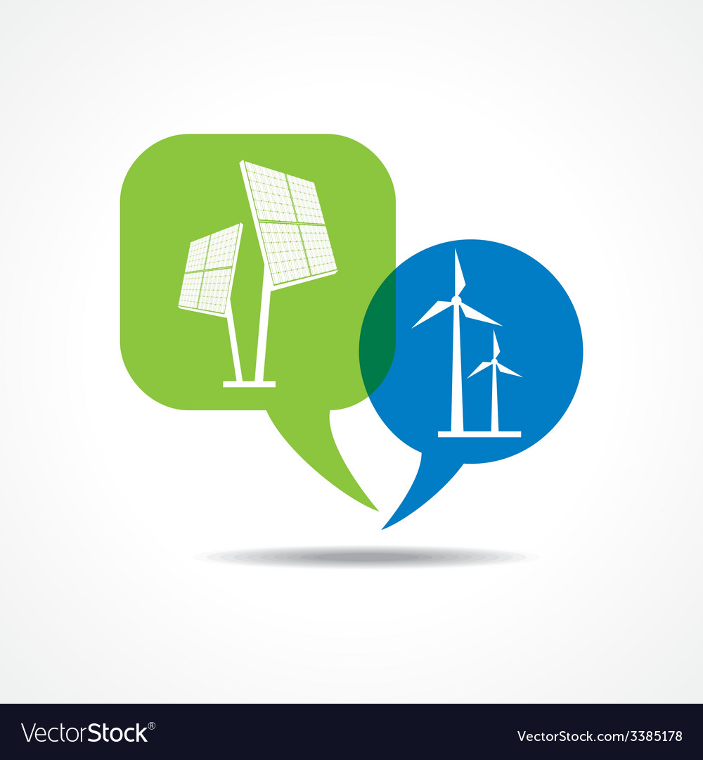 Solar panel and wind-mill in message bubble vector | Price: 1 Credit (USD $1)