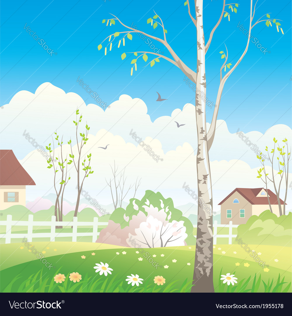 Spring village vector | Price: 1 Credit (USD $1)