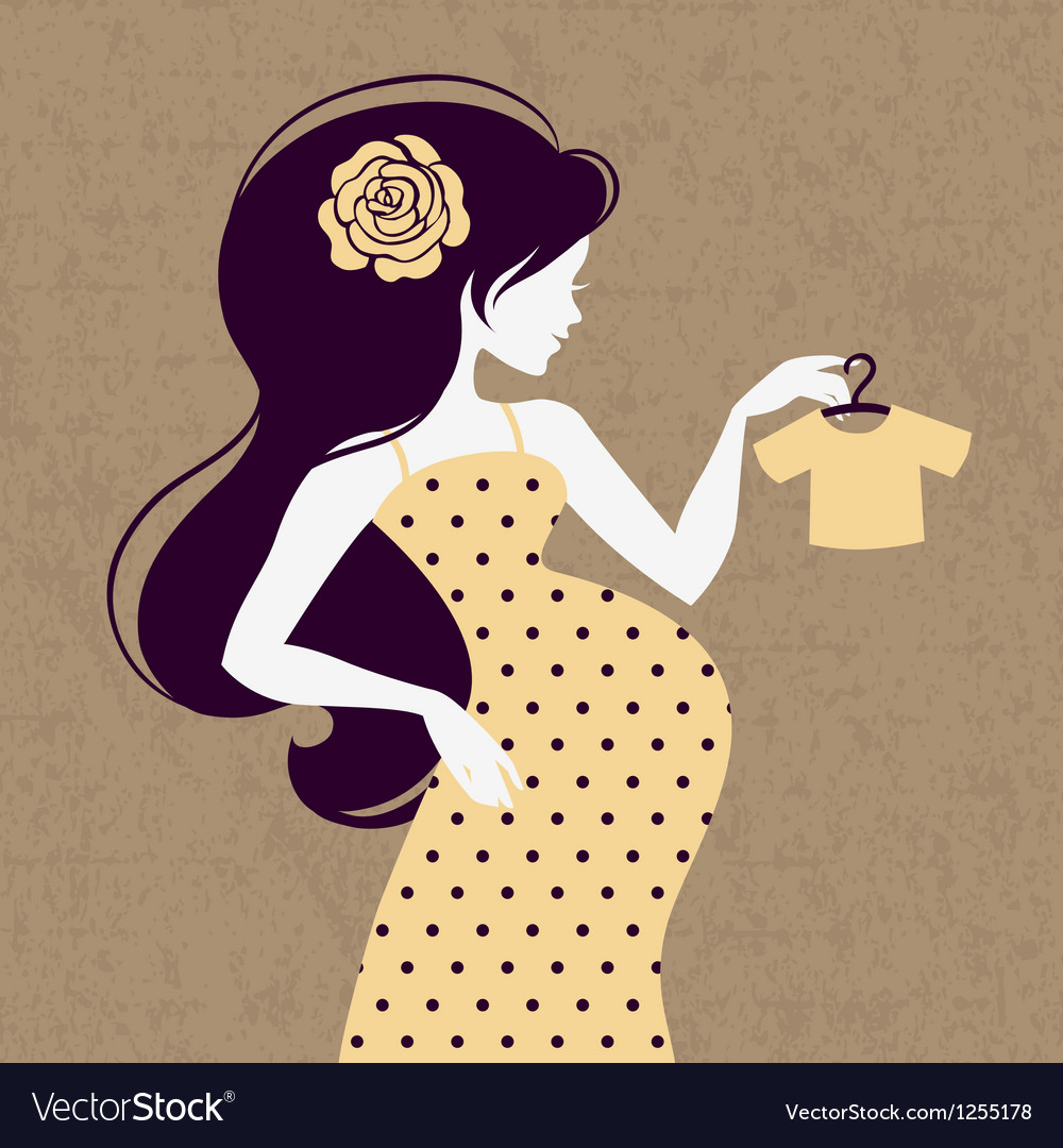 Vintage silhouette of pregnant woman vector | Price: 1 Credit (USD $1)