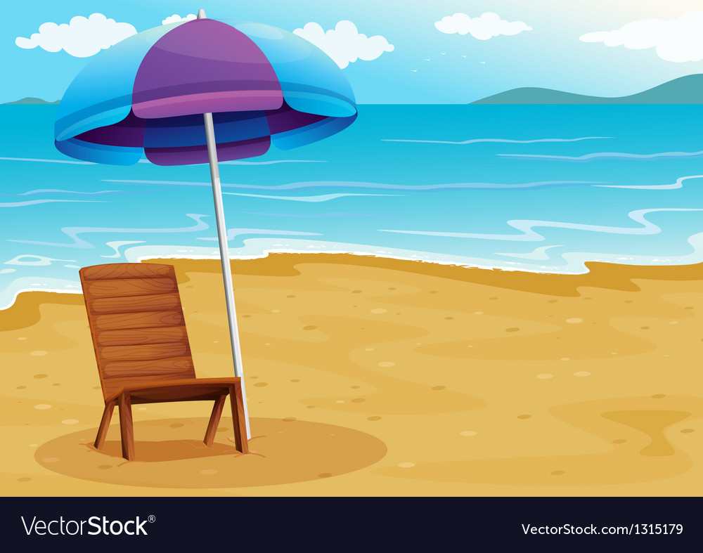 A beach with a relaxing wooden chair under an vector | Price: 1 Credit (USD $1)