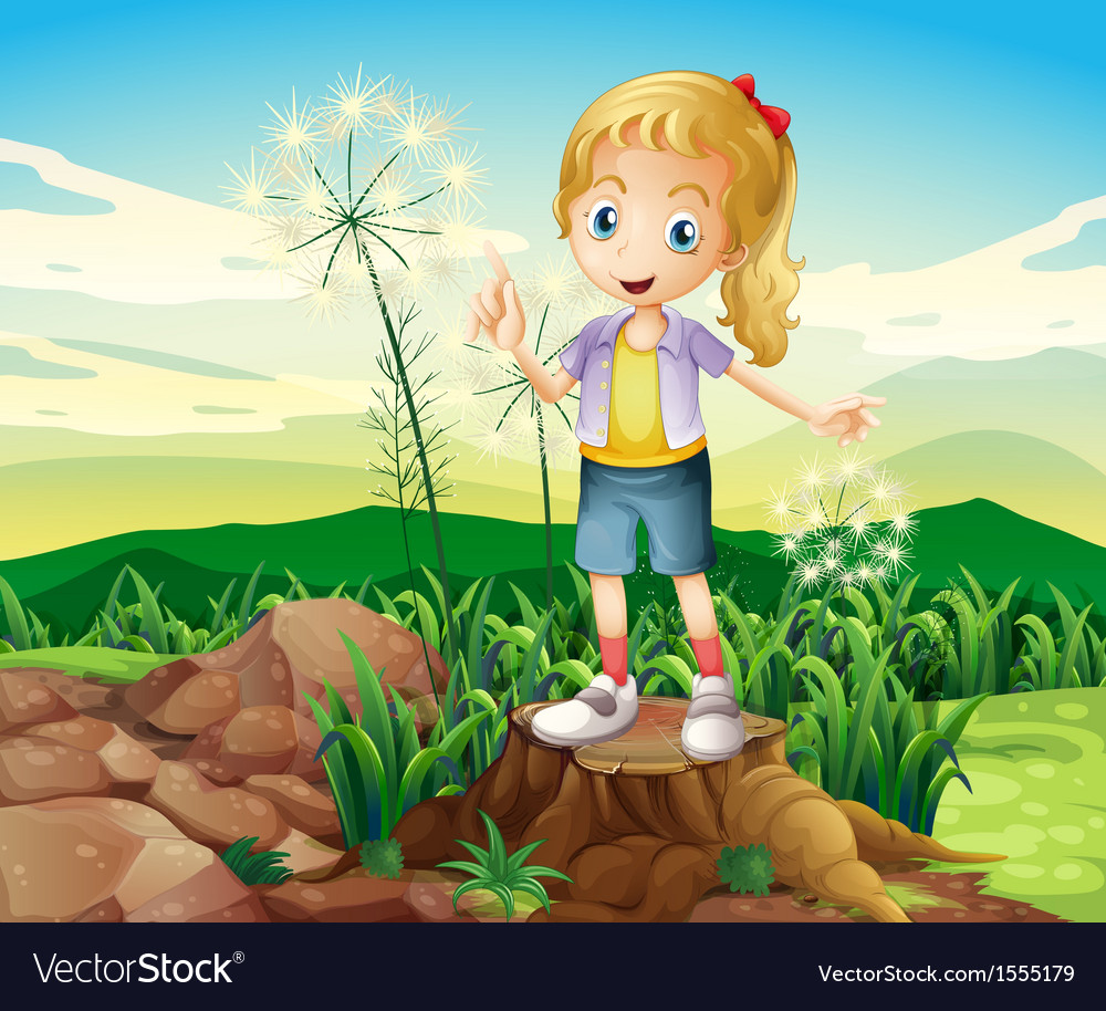 A stump with a young girl standing vector | Price: 1 Credit (USD $1)