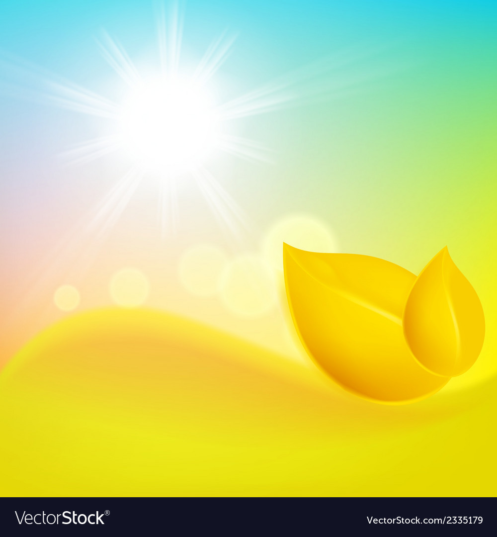 Autumn background with yellow leaf and the sun vector | Price: 1 Credit (USD $1)