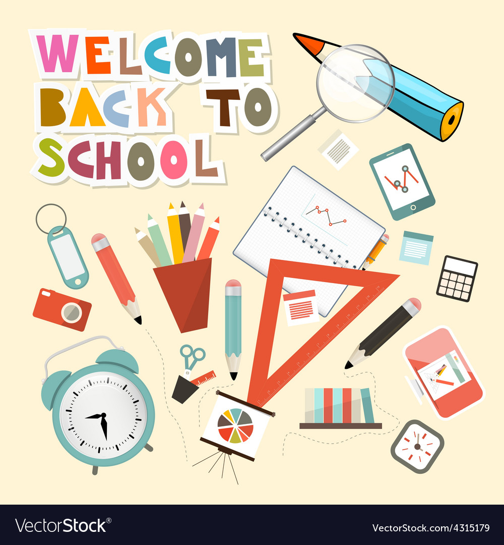 Back to school with school items vector | Price: 1 Credit (USD $1)
