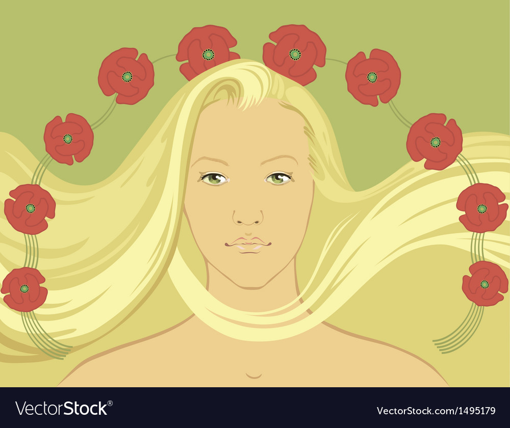 Blond girl with flying hair vector | Price: 1 Credit (USD $1)