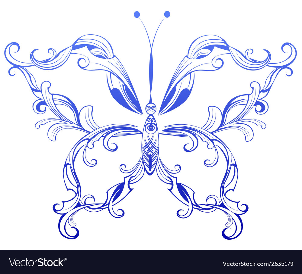 Blue patterned butterfly vector | Price: 1 Credit (USD $1)