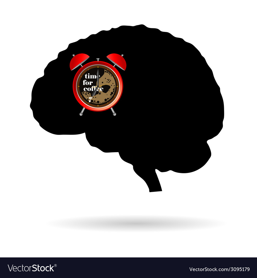 Brain with clock time for coffee vector   Price: 1 Credit (USD $1)