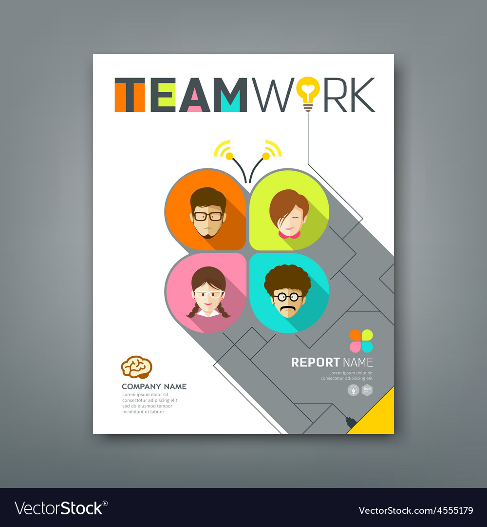 Cover annual reports colorful teamwork concept vector | Price: 1 Credit (USD $1)