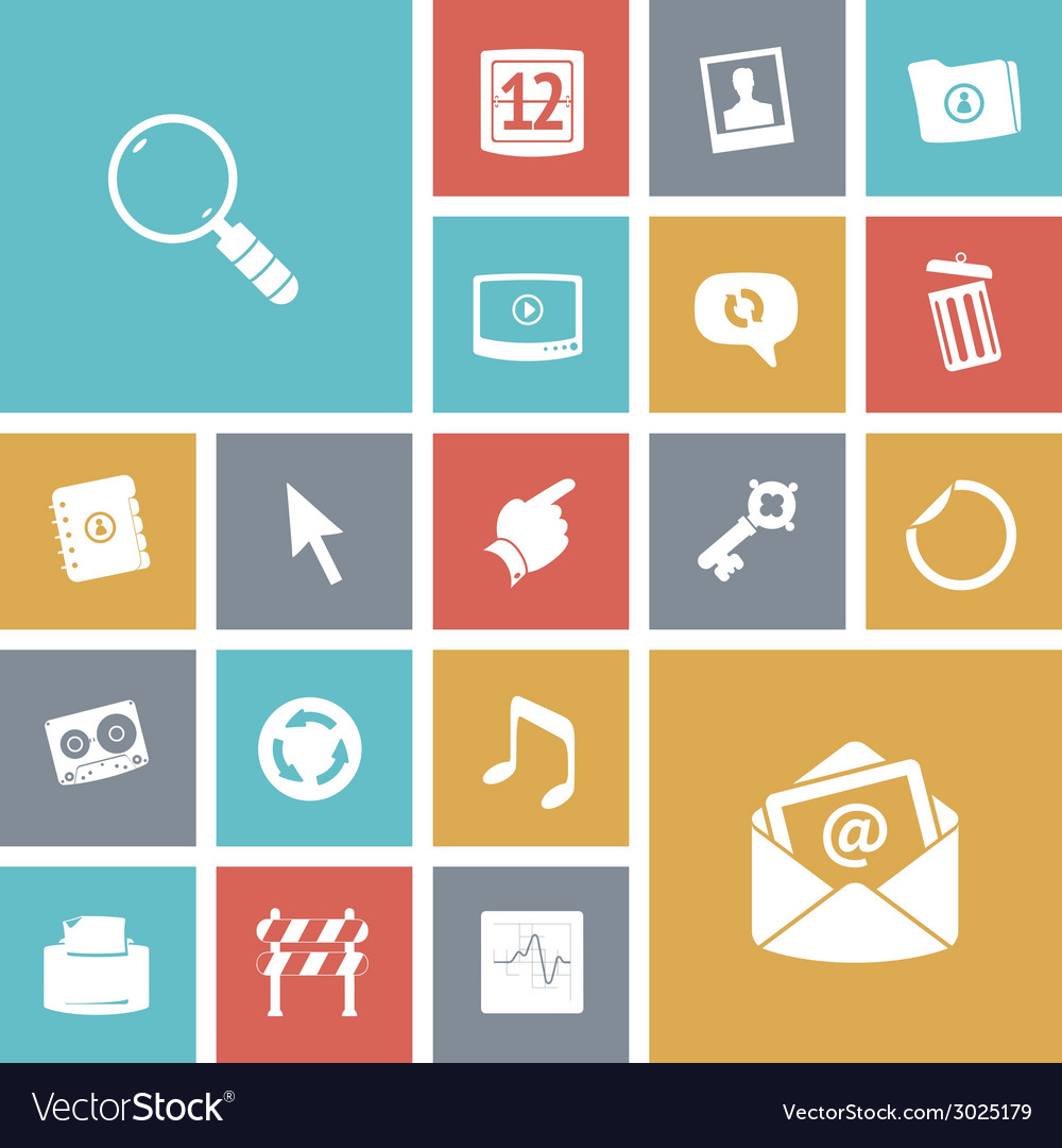Flat design icons for user interface vector | Price: 1 Credit (USD $1)