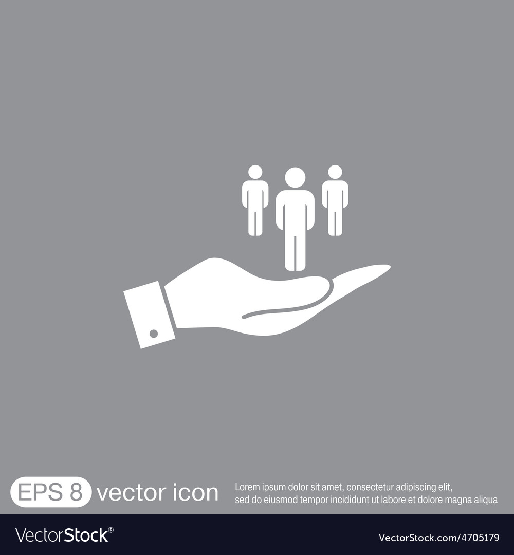 Hand holding a silhouette of a men vector | Price: 1 Credit (USD $1)