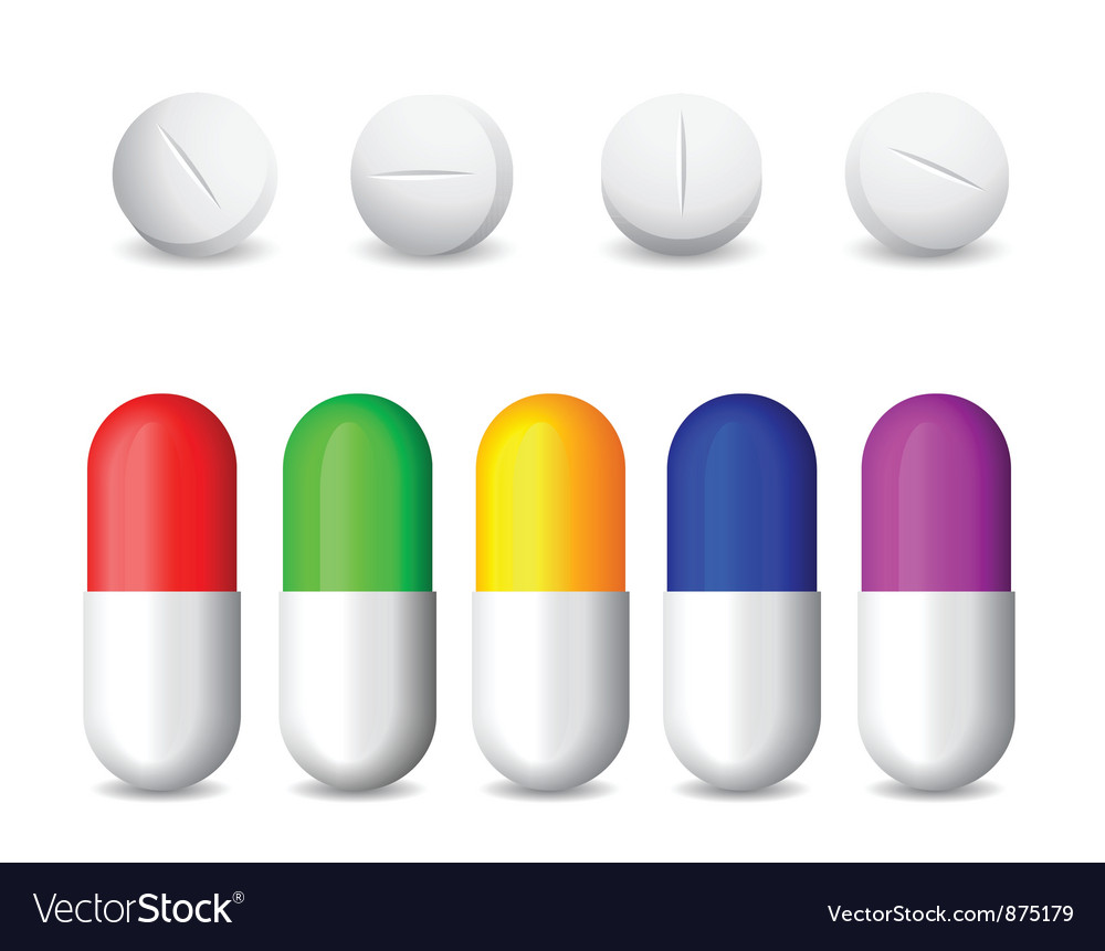 Icon of white tablets and colorful pills vector | Price: 1 Credit (USD $1)