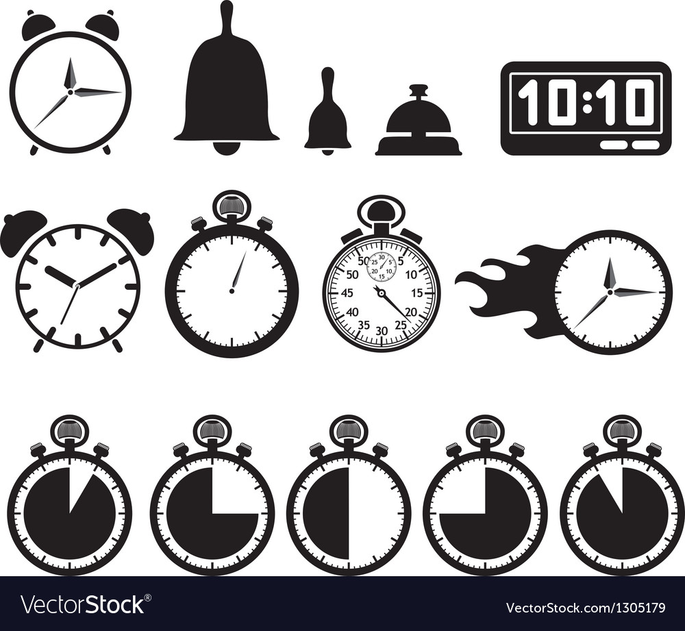 Icon set clocks vector | Price: 1 Credit (USD $1)