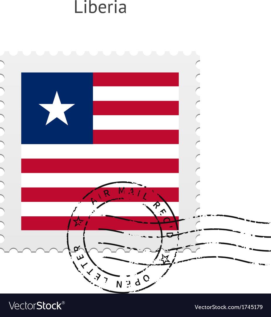 Liberia flag postage stamp vector | Price: 1 Credit (USD $1)