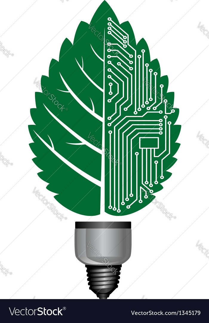 Light bulb with computer elements vector | Price: 1 Credit (USD $1)