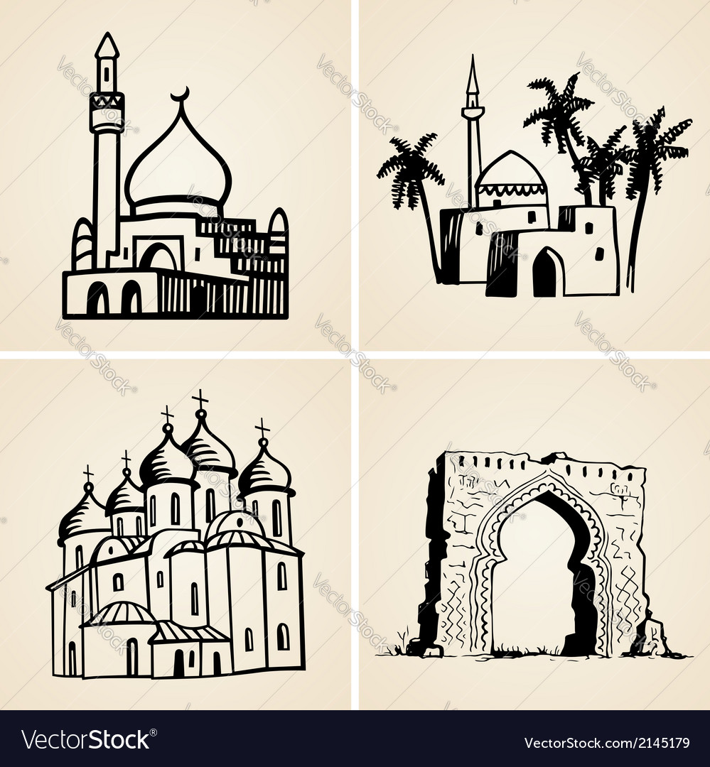 Old buildings vector | Price: 1 Credit (USD $1)