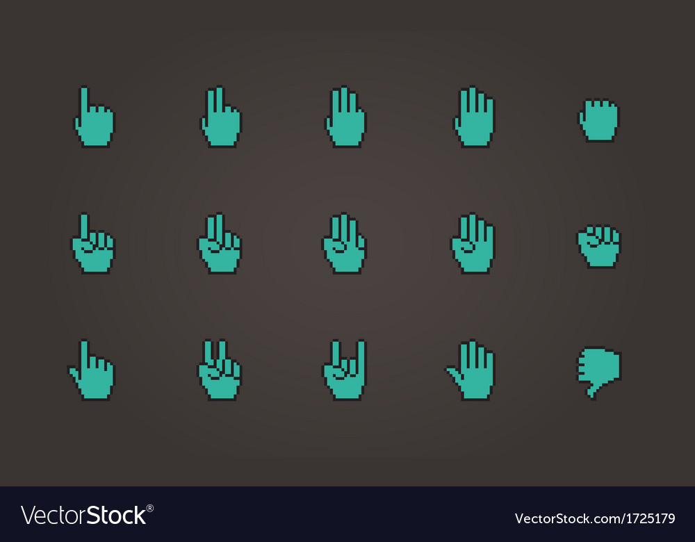 Pixel cursors icons mouse hands vector | Price: 1 Credit (USD $1)