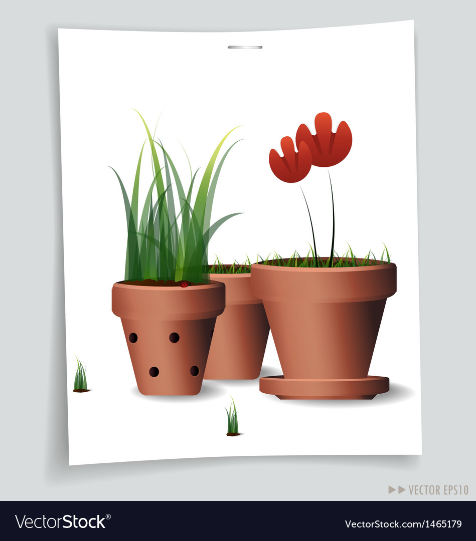 Red flower clay pot vector | Price: 1 Credit (USD $1)