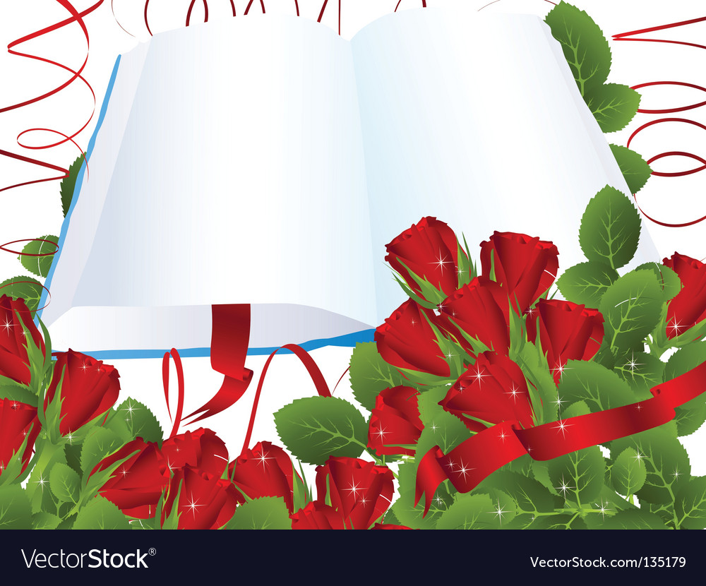 Roses and book vector | Price: 1 Credit (USD $1)