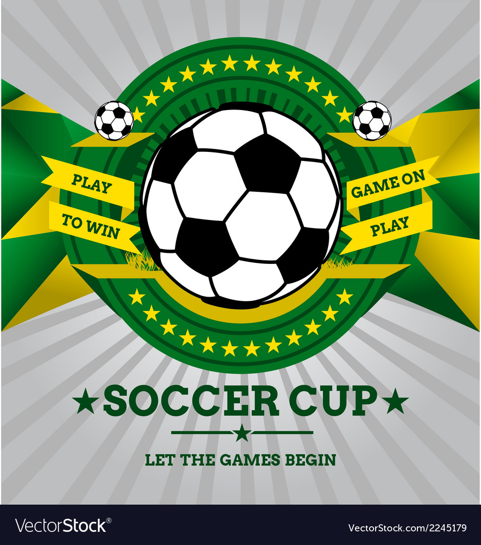 Soccer emblem with geometric background in brazil vector | Price: 1 Credit (USD $1)