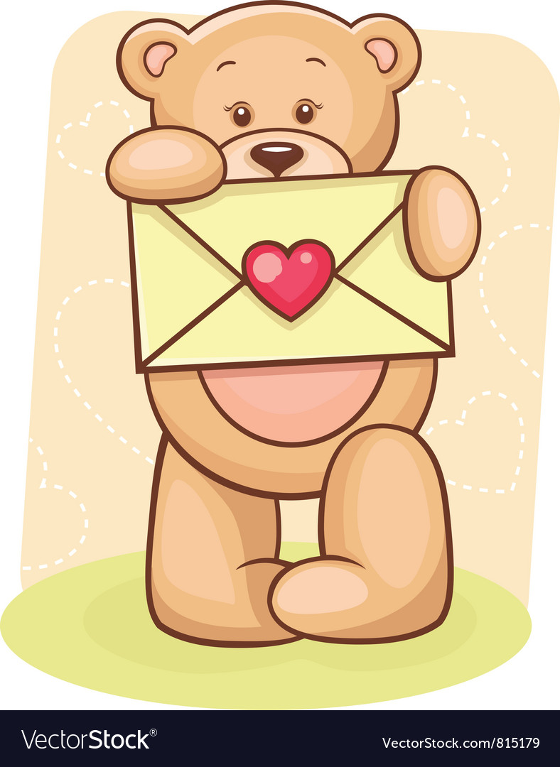 Teddy bear holding envelope vector | Price: 3 Credit (USD $3)