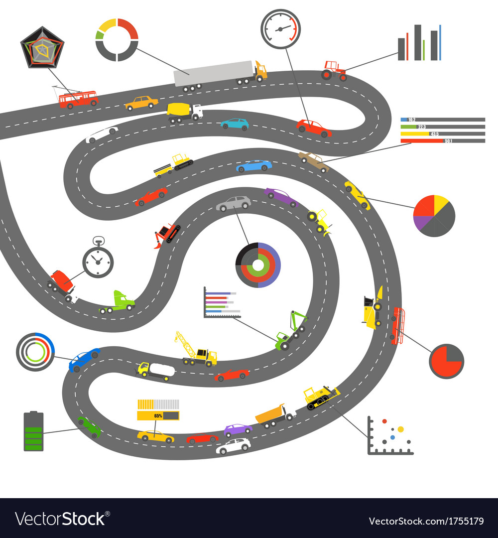 Transportation scheme with infographoc elements vector | Price: 1 Credit (USD $1)