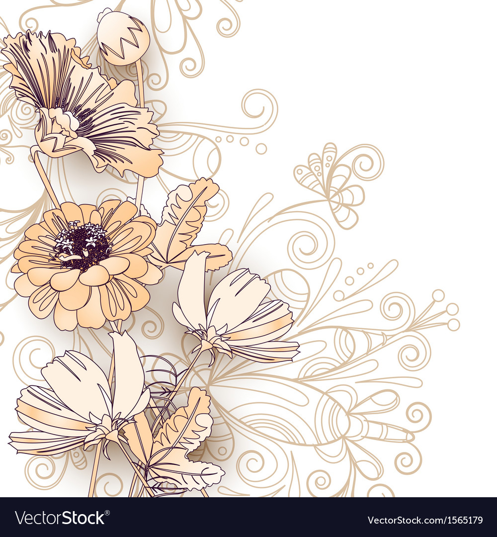Wild flowers on a white vector | Price: 1 Credit (USD $1)