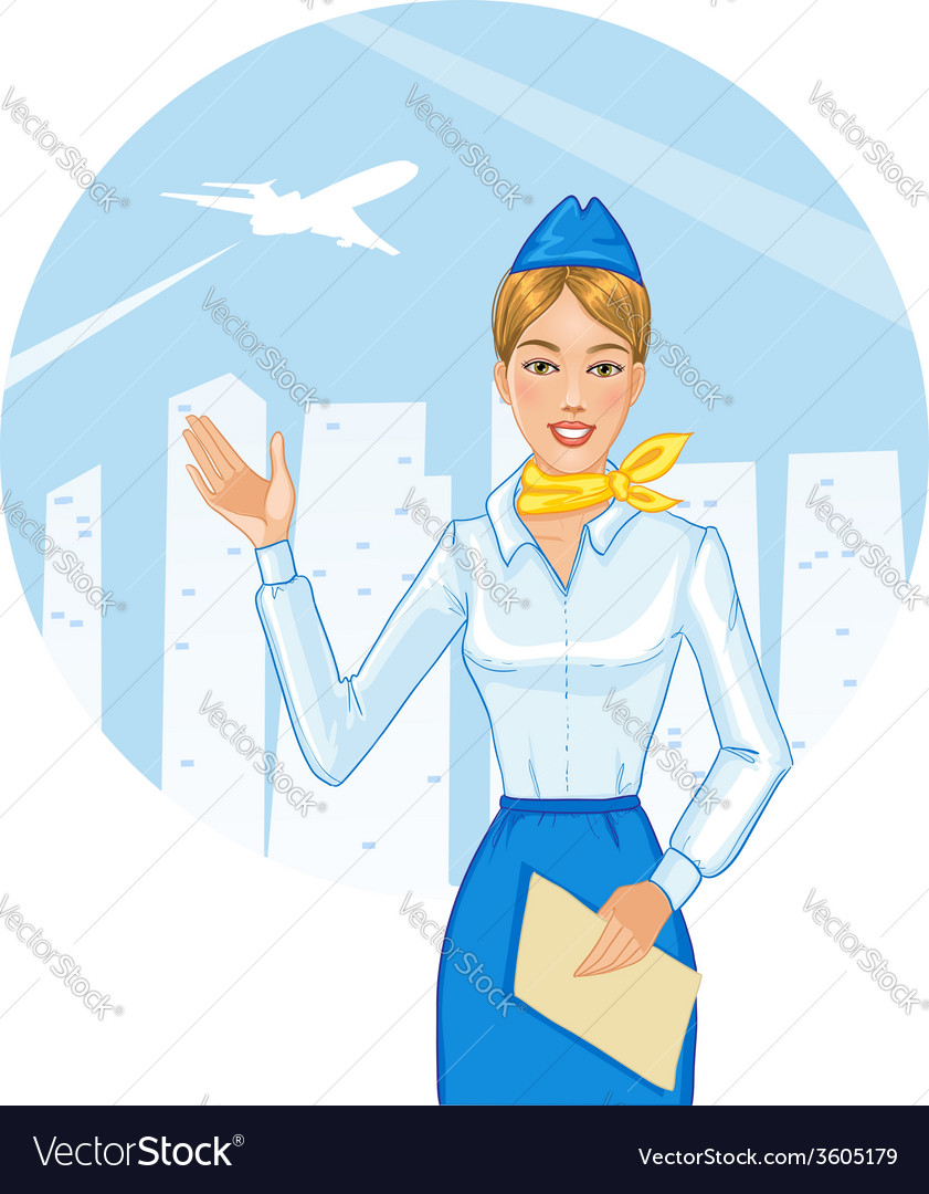 Young cheerful stewardess eps10 vector   Price: 3 Credit (USD $3)
