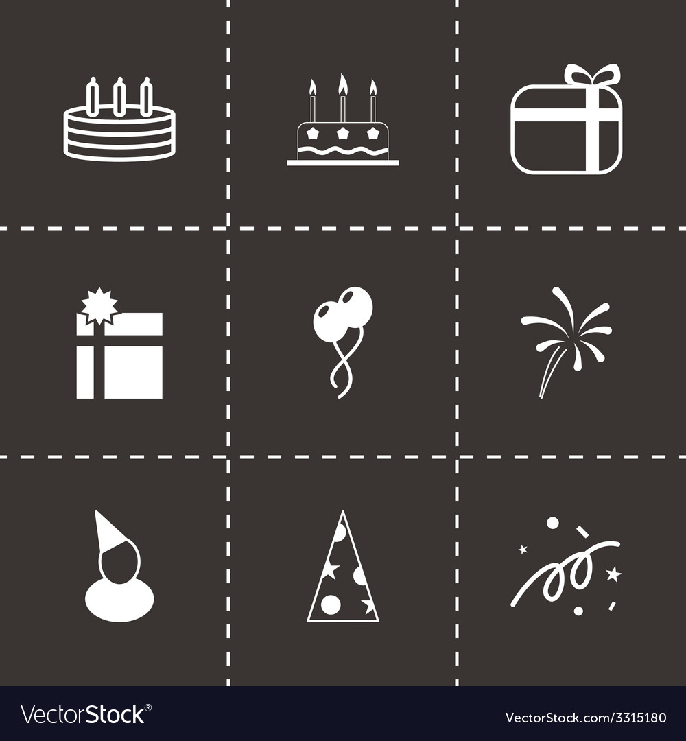 Black birthday icon set vector | Price: 1 Credit (USD $1)