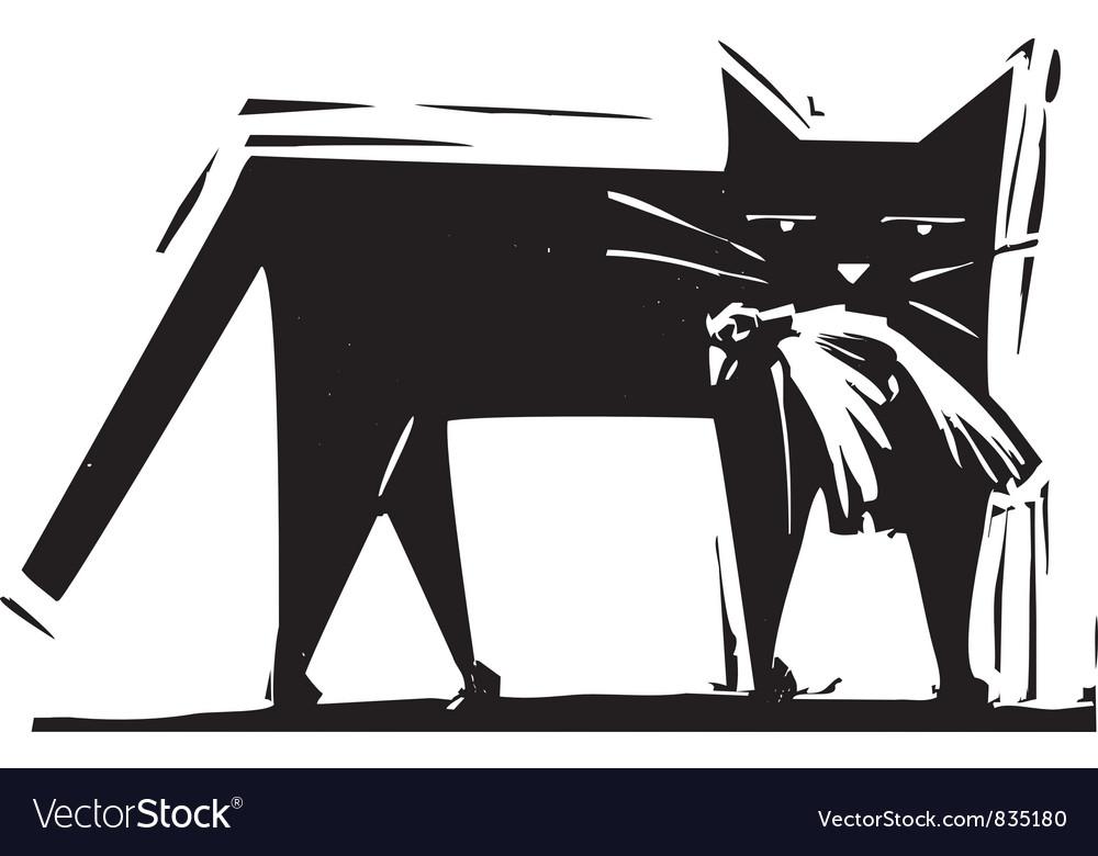 Cat with bird kill vector | Price: 1 Credit (USD $1)