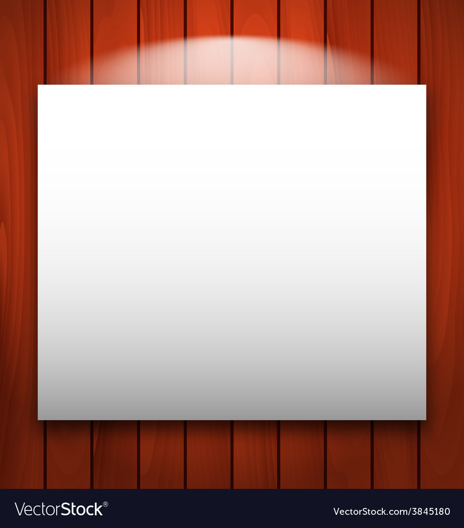 Empty frame on wooden with light  vector