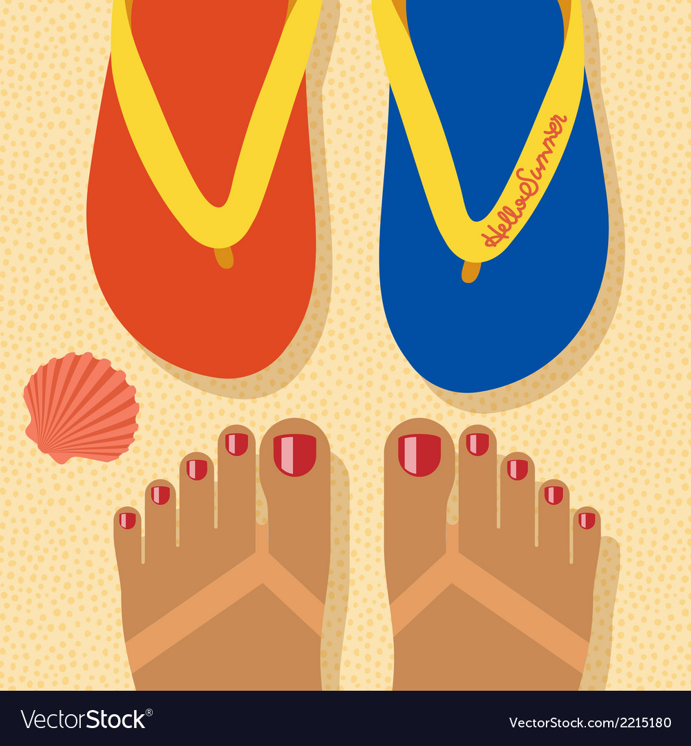 Hello summer - concept background self shoot feet vector | Price: 1 Credit (USD $1)