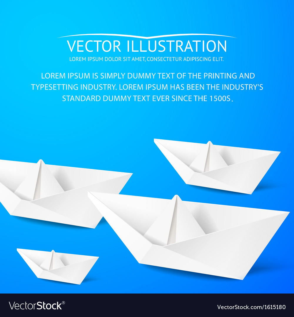 Paper boat on blue background vector | Price: 1 Credit (USD $1)