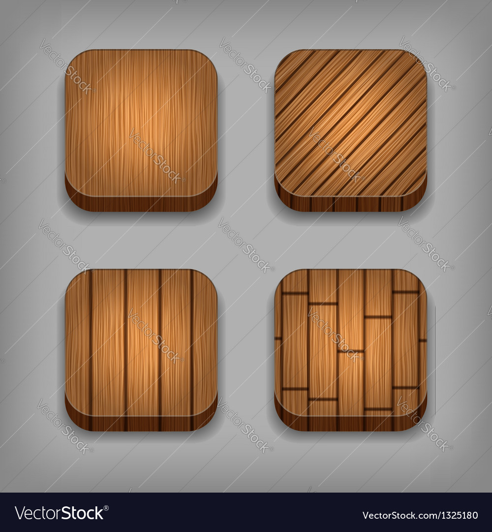 Set of wood textured buttons vector | Price: 1 Credit (USD $1)