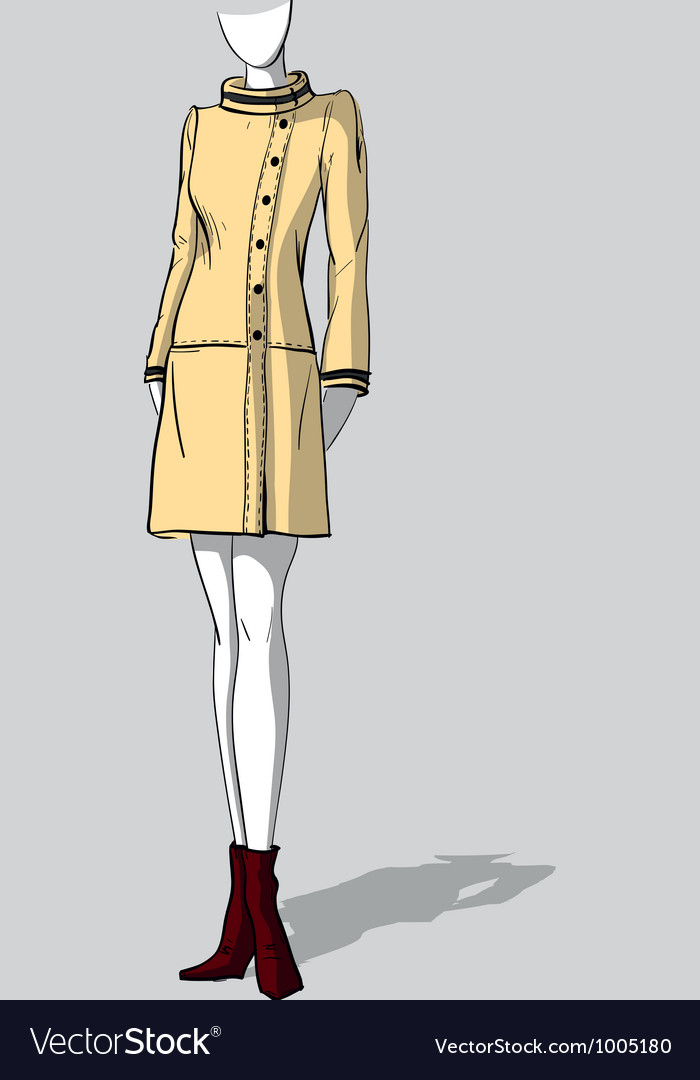 Woman in short beige autumn coat vector | Price: 3 Credit (USD $3)
