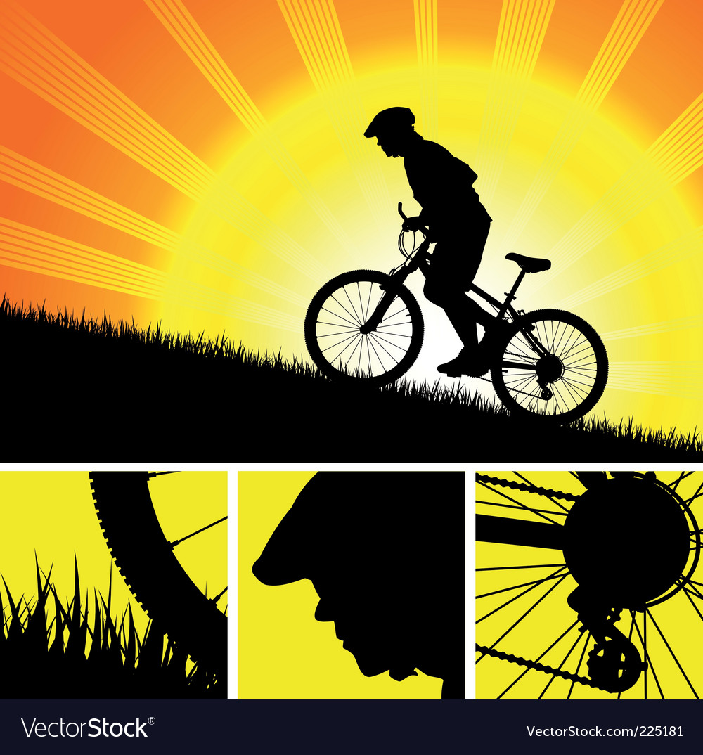 Biker riding up to hill vector | Price: 1 Credit (USD $1)