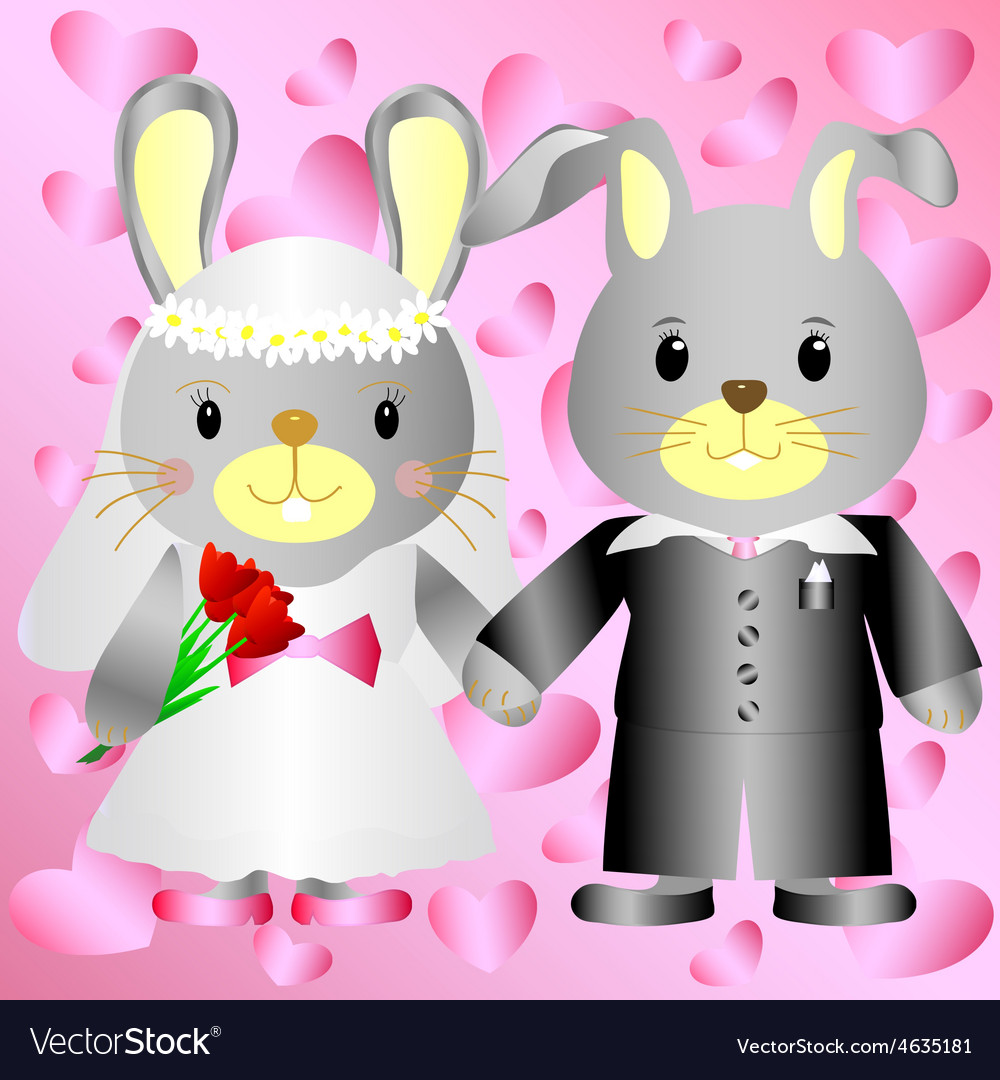 Cartoon bunnies bride and groom vector | Price: 1 Credit (USD $1)