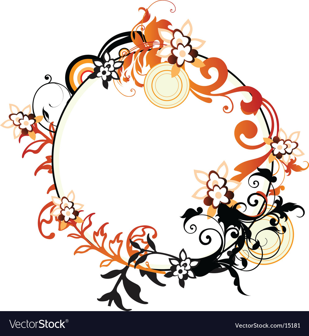 Circle floral frame vector | Price: 1 Credit (USD $1)