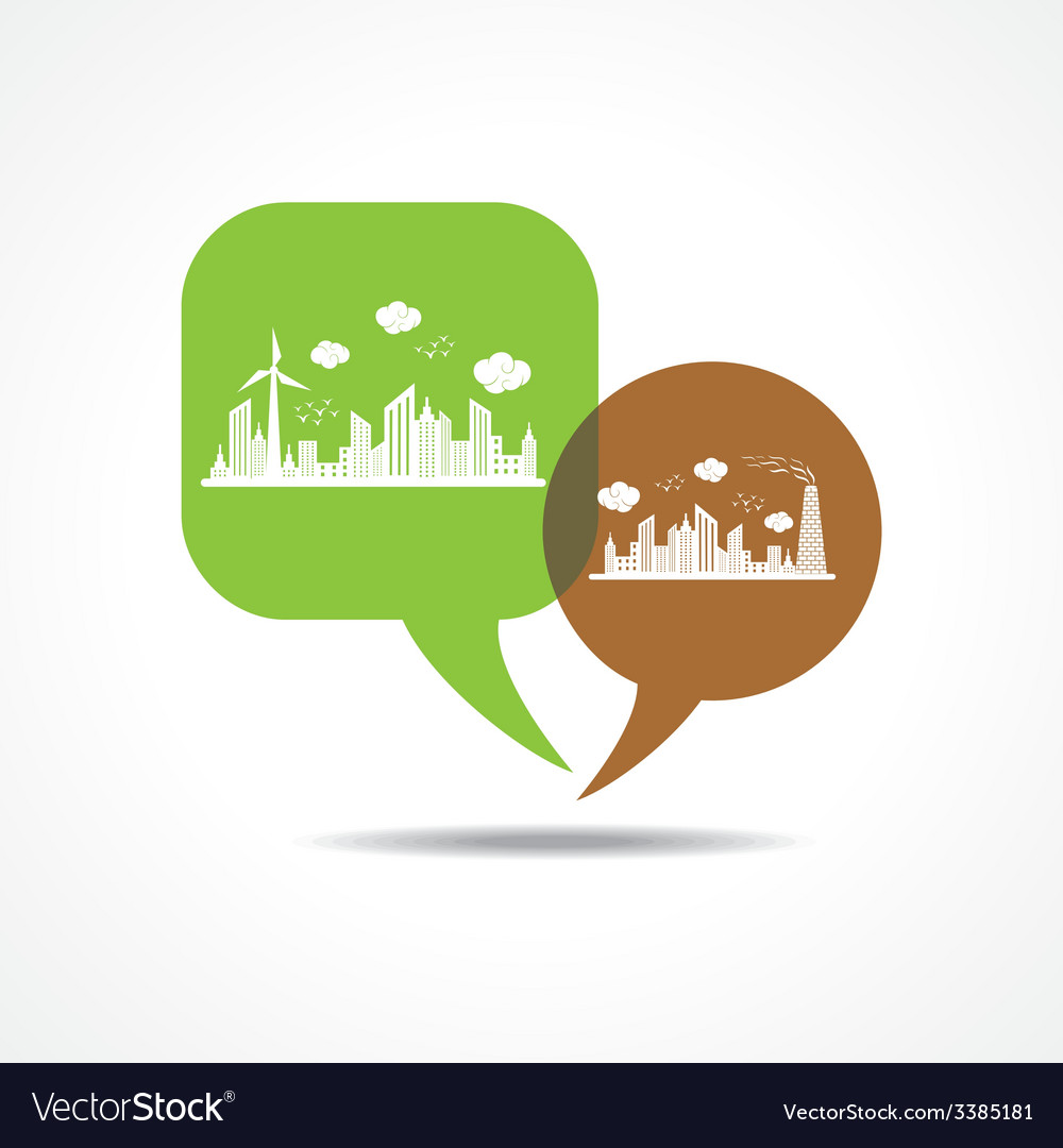 Eco and polluted cityscape in message bubble vector | Price: 1 Credit (USD $1)