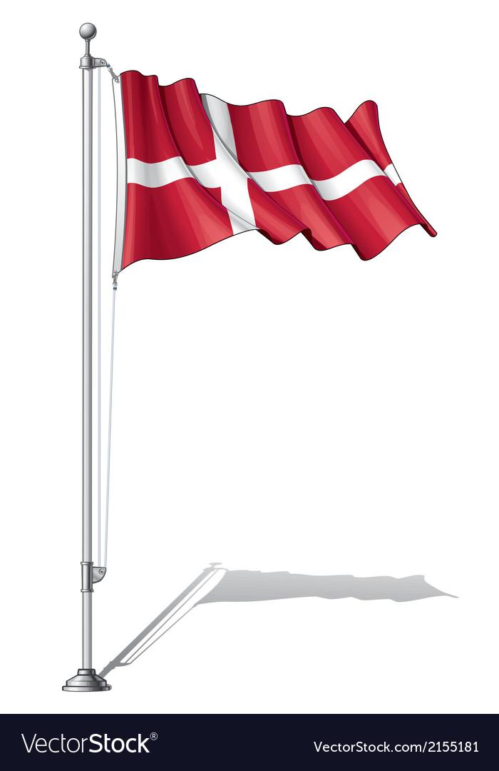 Flag pole denmark vector | Price: 1 Credit (USD $1)