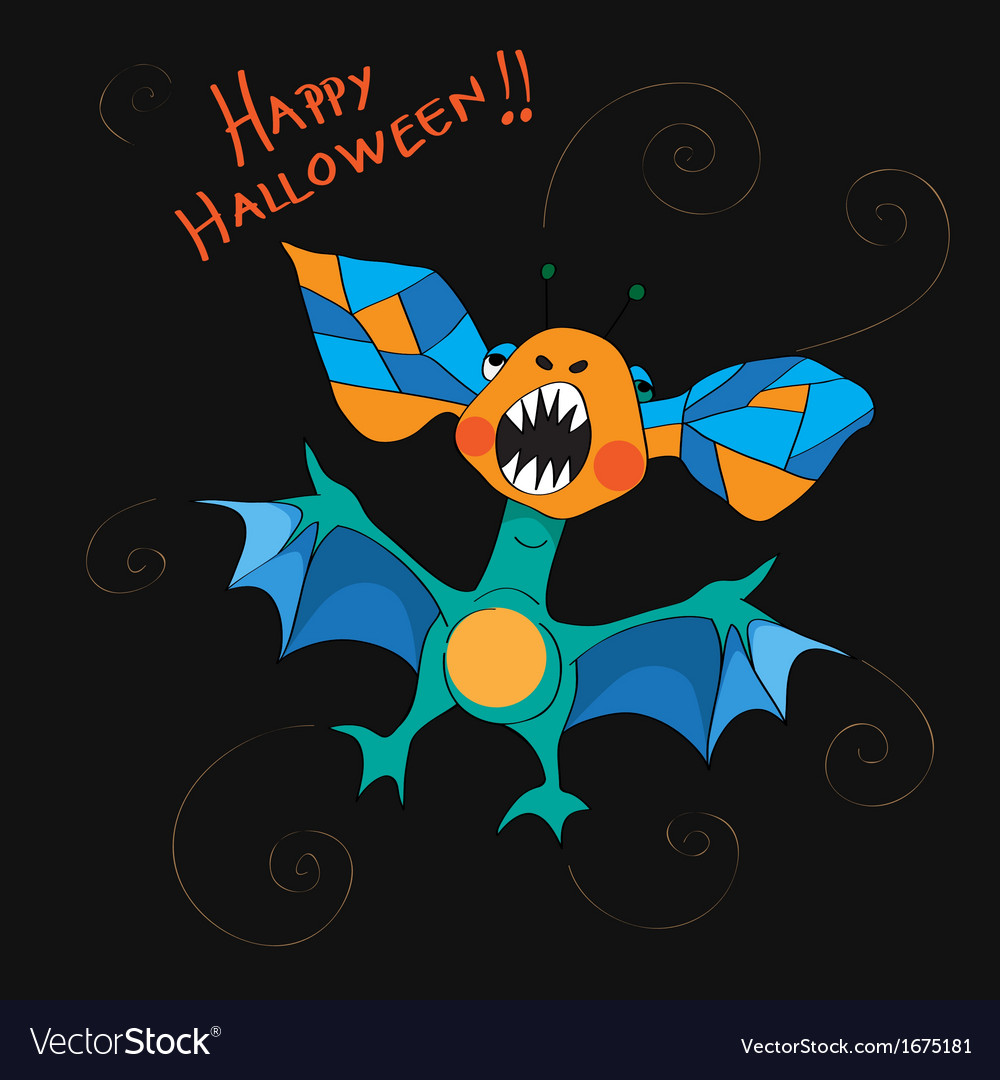 Halloween bat card vector | Price: 1 Credit (USD $1)