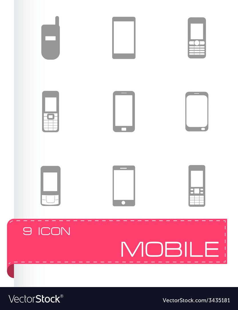 Mobile icons set vector | Price: 1 Credit (USD $1)