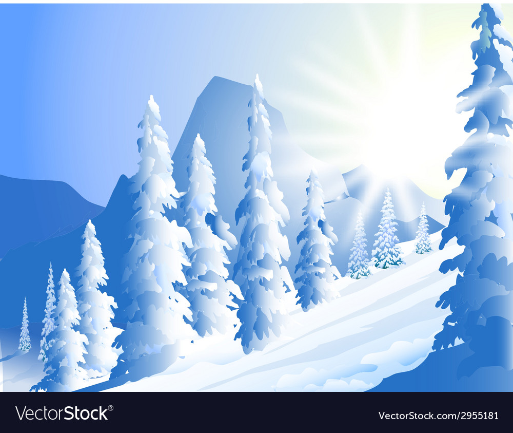 Morning sun shine and winter landscape vector | Price: 1 Credit (USD $1)