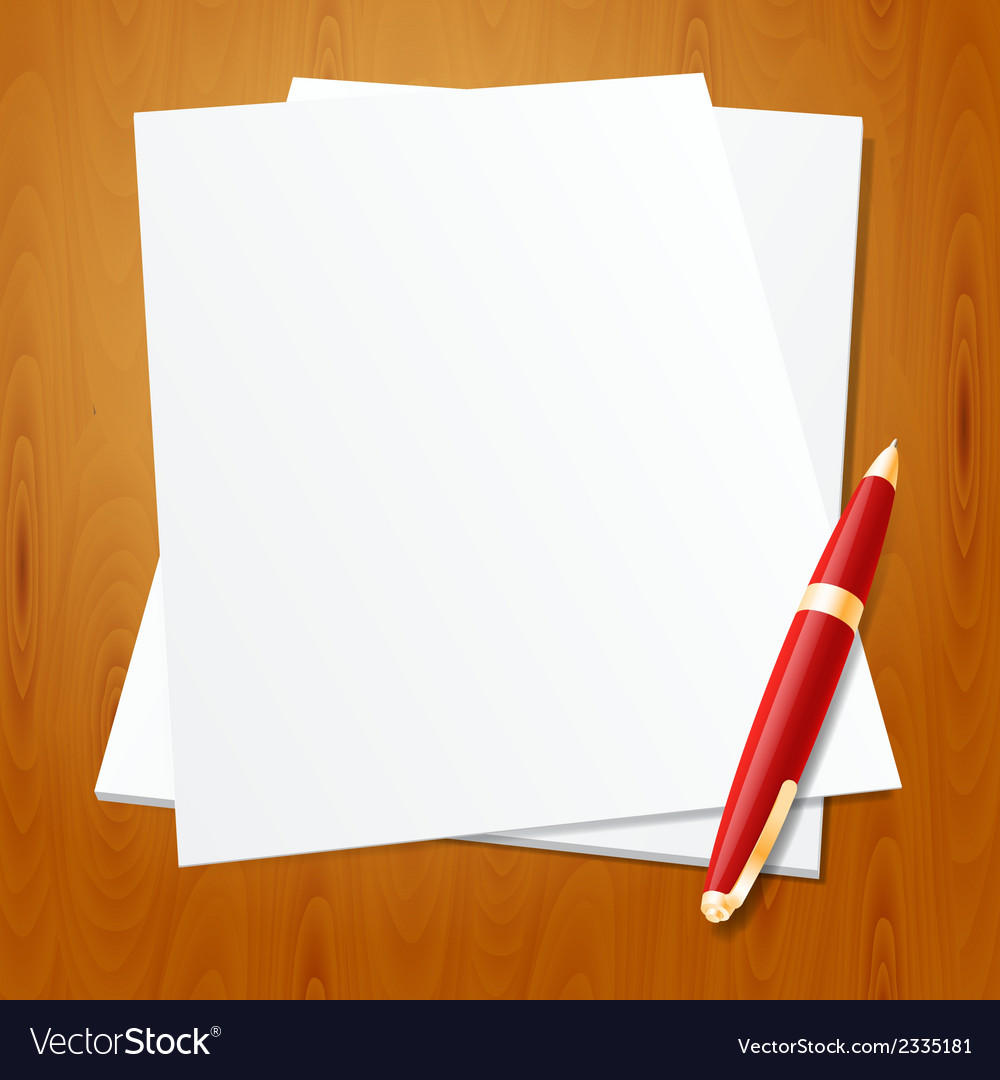 Pen with paper vector | Price: 1 Credit (USD $1)