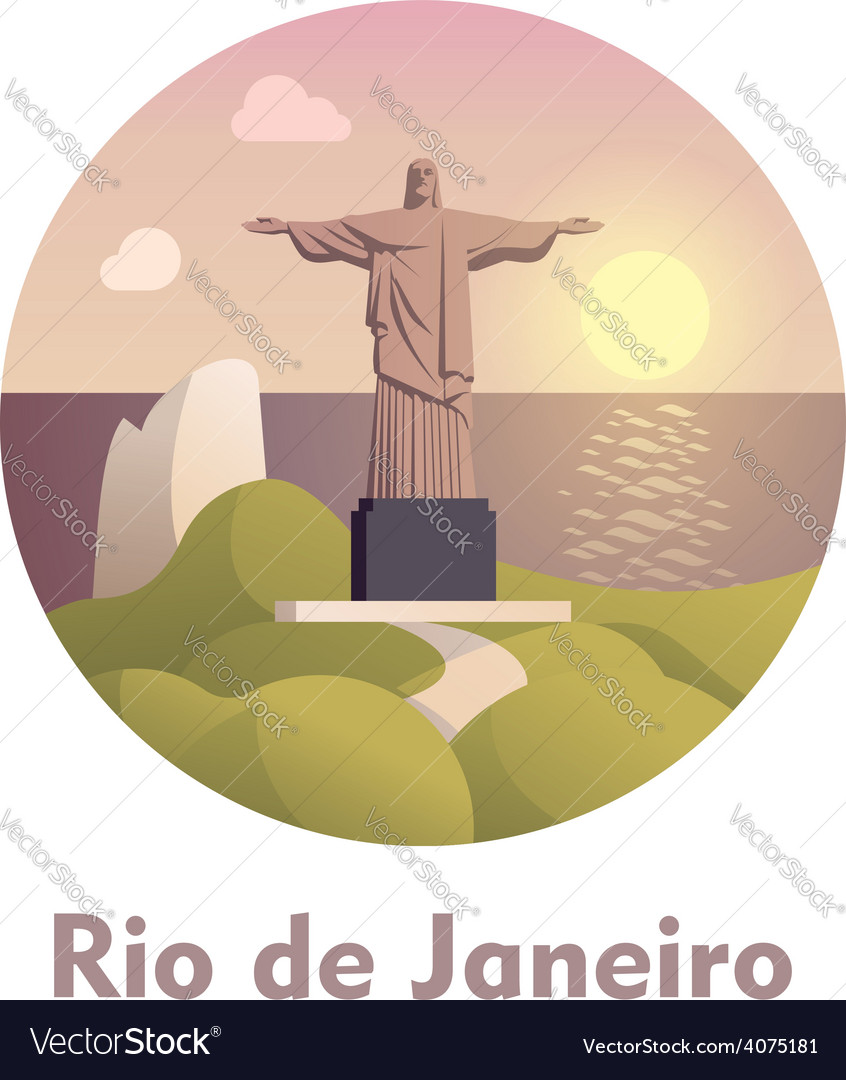 Travel destination rio de janeiro icon vector | Price: 3 Credit (USD $3)