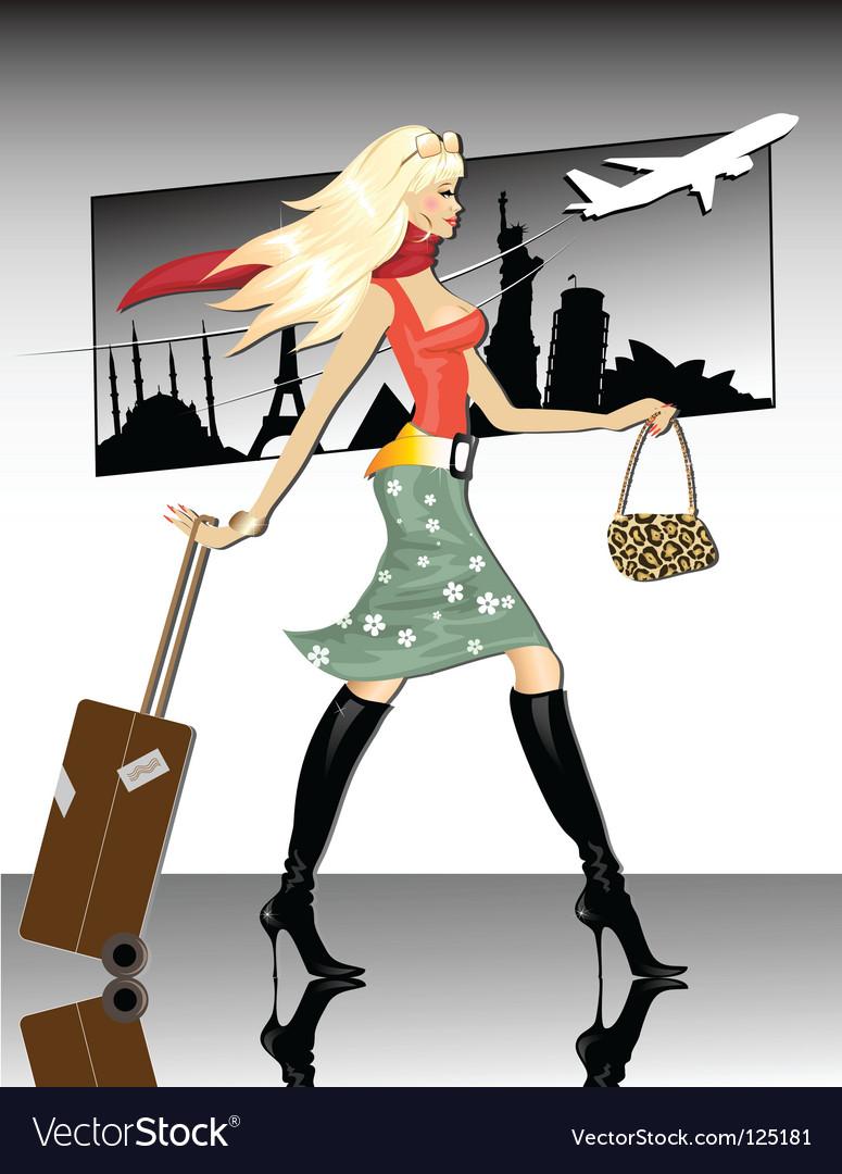 Travel girl vector | Price: 3 Credit (USD $3)
