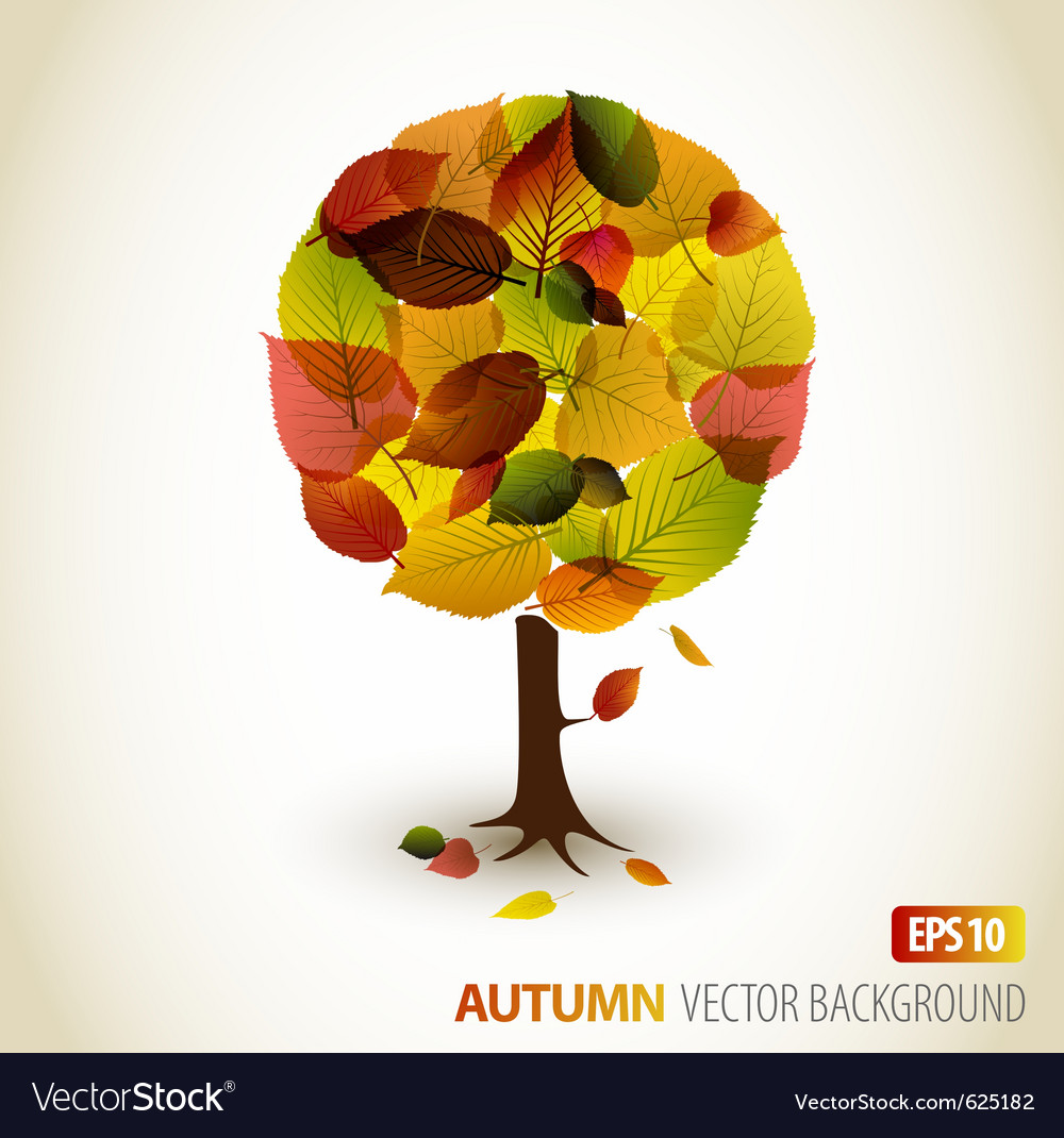 Autumn tree background vector | Price: 1 Credit (USD $1)