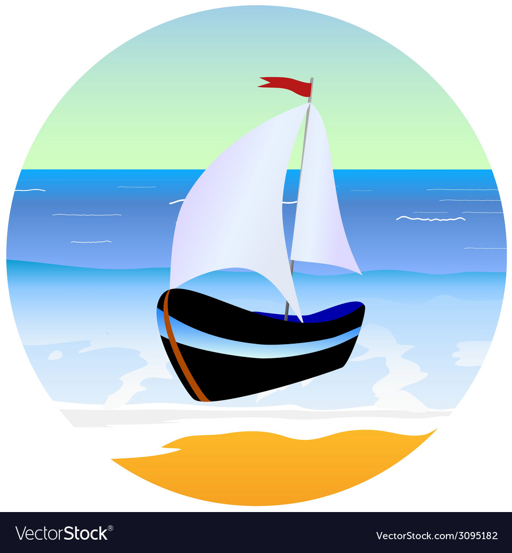 Boat and beach cartoon vector | Price: 1 Credit (USD $1)