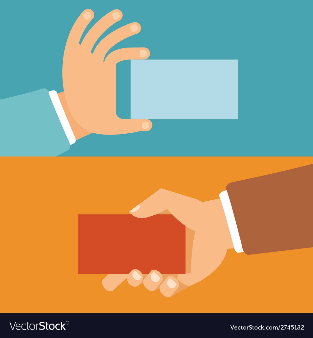 Businessman hands holding id cards vector | Price: 1 Credit (USD $1)