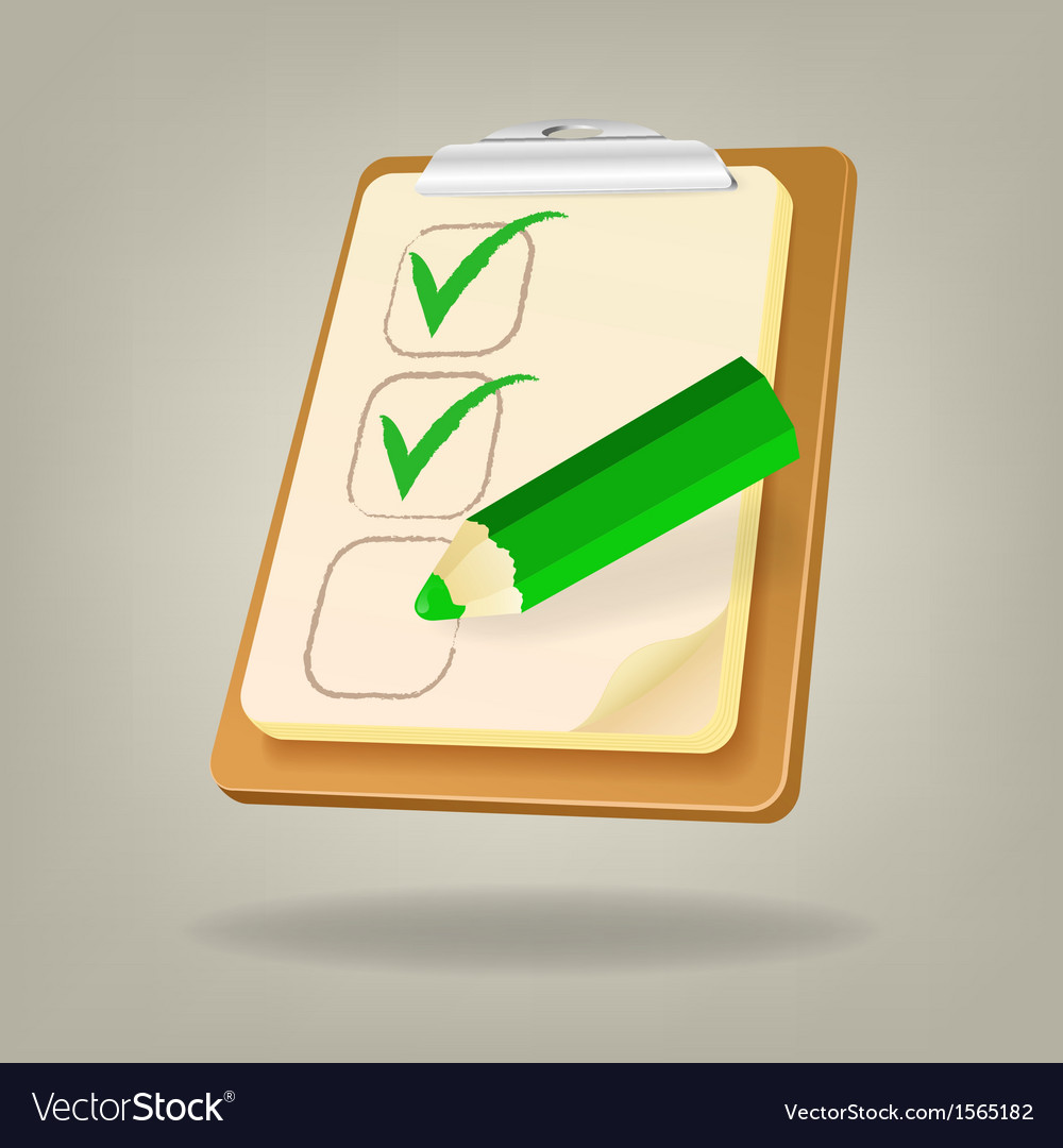 Checklist with a pencil vector | Price: 1 Credit (USD $1)
